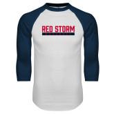White/Navy Raglan Baseball T Shirt-Baseball Bar Design