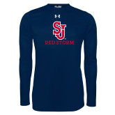 Under Armour Navy Long Sleeve Tech Tee-SJ Redstorm Stacked