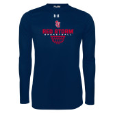Under Armour Navy Long Sleeve Tech Tee-Basketball Sharp Net Design