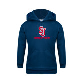 Youth Navy Fleece Hoodie-SJ Redstorm Stacked