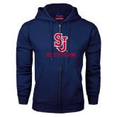 Navy Fleece Full Zip Hoodie-SJ Redstorm Stacked