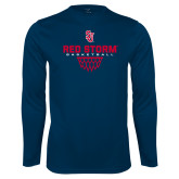 Syntrel Performance Navy Longsleeve Shirt-Basketball Sharp Net Design