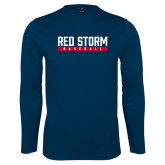 Syntrel Performance Navy Longsleeve Shirt-Baseball Bar Design