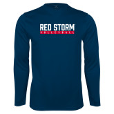 Syntrel Performance Navy Longsleeve Shirt-Volleyball Bar Design
