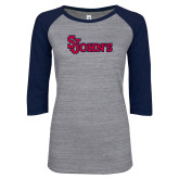 ENZA Ladies Athletic Heather/Navy Vintage Baseball Tee-St Johns