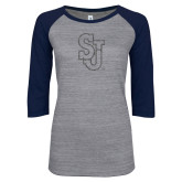 ENZA Ladies Athletic Heather/Navy Vintage Baseball Tee-SJ Graphite Glitter