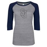 ENZA Ladies Athletic Heather/Navy Vintage Baseball Tee-SJ Graphite Glitter