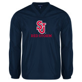 V Neck Navy Raglan Windshirt-SJ Redstorm Stacked