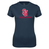 Ladies Syntrel Performance Navy Tee-SJ Redstorm Stacked