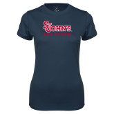 Ladies Syntrel Performance Navy Tee-St Johns Red Storm