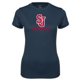 Ladies Syntrel Performance Navy Tee-Lacrosse