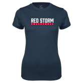 Ladies Syntrel Performance Navy Tee-Volleyball Bar Design