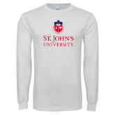 White Long Sleeve T Shirt-University Mark Stacked