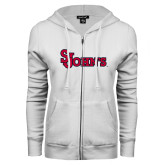 ENZA Ladies White Fleece Full Zip Hoodie-St Johns