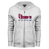 ENZA Ladies White Fleece Full Zip Hoodie-St Johns Red Storm