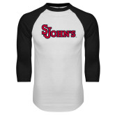 White/Black Raglan Baseball T Shirt-St Johns