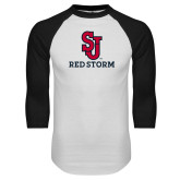 White/Black Raglan Baseball T Shirt-SJ Redstorm Stacked