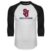 White/Black Raglan Baseball T Shirt-SJ Redstorm Stacked