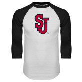 White/Black Raglan Baseball T Shirt-SJ