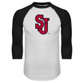 White/Black Raglan Baseball T Shirt-SJ