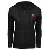 ENZA Ladies Black Fleece Full Zip Hoodie-SJ Redstorm Stacked