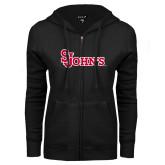 ENZA Ladies Black Fleece Full Zip Hoodie-St Johns