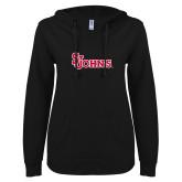ENZA Ladies Black V Notch Raw Edge Fleece Hoodie-St Johns