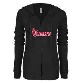 ENZA Ladies Black Light Weight Fleece Full Zip Hoodie-St Johns