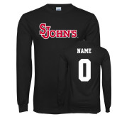 Black Long Sleeve T Shirt-St Johns, Custom Tee w/ Name and #