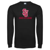 Black Long Sleeve T Shirt-SJ Redstorm Stacked