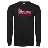 Black Long Sleeve T Shirt-St Johns Red Storm