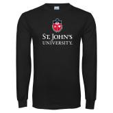 Black Long Sleeve T Shirt-University Mark Stacked