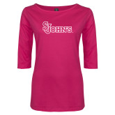 Ladies Dark Fuchsia Perfect Weight 3/4 Sleeve Tee-St Johns