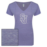 ENZA Ladies Surfer Blue Melange V Neck Tee-SJ White Glitter