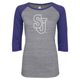 ENZA Ladies Athletic Heather/Blue Vintage Baseball Tee-SJ White Glitter