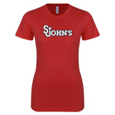 Next Level Ladies SoftStyle Junior Fitted Red Tee-St Johns