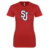 Next Level Ladies SoftStyle Junior Fitted Red Tee-SJ