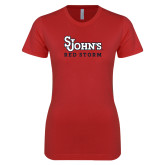 Next Level Ladies SoftStyle Junior Fitted Red Tee-St Johns Red Storm