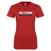 Next Level Ladies SoftStyle Junior Fitted Red Tee-Lacrosse Bar Design
