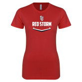 Next Level Ladies SoftStyle Junior Fitted Red Tee-Baseball Plate Design