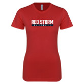 Next Level Ladies SoftStyle Junior Fitted Red Tee-Baseball Bar Design