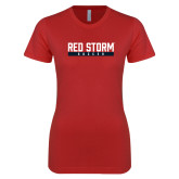 Next Level Ladies SoftStyle Junior Fitted Red Tee-Soccer Bar Design