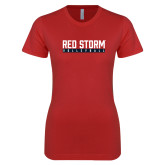 Next Level Ladies SoftStyle Junior Fitted Red Tee-Volleyball Bar Design