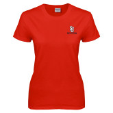 Ladies Red T Shirt-SJ Redstorm Stacked