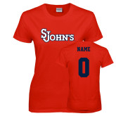Ladies Red T Shirt-St Johns, Custom Tee w/ Name and #
