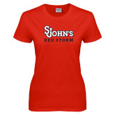 Ladies Red T Shirt-St Johns Red Storm
