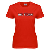 Ladies Red T Shirt-Red Storm
