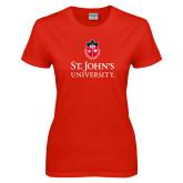 Ladies Red T Shirt-University Mark Stacked