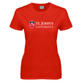 Ladies Red T Shirt-University Mark Flat