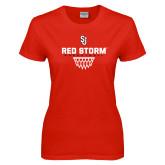 Ladies Red T Shirt-Basketball Sharp Net Design